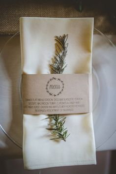 Rosemary Place Setting Belly Band Stationery Menu Whimsical Woodland Earthy Wedding Georgia http://www.ambercatherphotography.com/