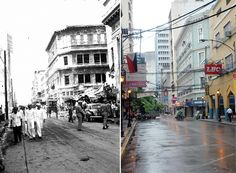 Escolta near the corner of Tomas Pinpin in 1945 and in 2005.  The war-damaged Natividad Building (green) still stands.