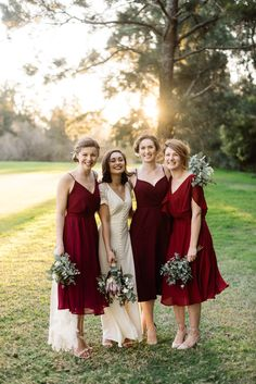 Photography: Trent & Jessie Photographers Place: Morpeth Common, Ray Lawler Reserve Vintage Bridesmaids burgundy marsala mismatched dresses midi custom overlay tulle maid of honour asos david jones wedding bridal party friends