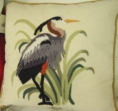 Blue Heron Needlepoint Pillow