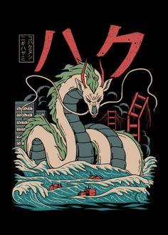 "Beautiful ""Haku Kaiju"" metal poster created by vp trinidad. Our Displate metal prints will make your walls awesome. Personajes Studio Ghibli, Canvas Fabric, Canvas Prints, Japon Illustration, Posca Art, Studio Ghibli Art, Japan Art, Cool Artwork, Anime Manga"