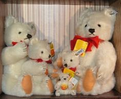 Steiff White Teddy Bear Set of Five 1982 MIB