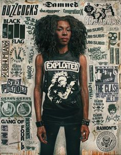 """""""Punk Rawkah"""" by Tim Okamura, oil, collage, mixed media on canvas, 62 x 80"""", 2014. This painting will be on display at Castle Fitzjohns Gallery in NY as part of the Art Album exhibition, opening June 20th. Show runs until July 19th, 2014."""