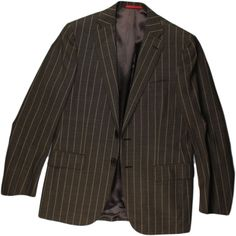 ISAIA MEN'S SUIT-BROWN STRIPE-38/48R-MADE IN ITALY #ISAIA #TwoButton