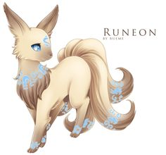 Eevee —> Runeon Light Evolves from Eevee when leveled up while holding a a specific rune, which then becomes the rune on Runeon's forehead. Source. Artist: Rueme
