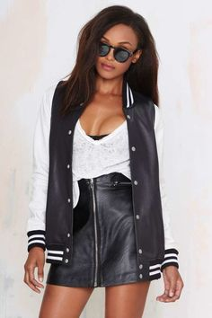 Nasty Gal School's Out Leather Varsity Jacket