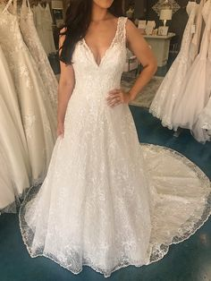 Maggie Sottero Ricarda - Beautifully beaded A-line wedding dress fit for a queen! Size 12 Wedding Dress, Elegant Wedding Dress, Elegant Dresses, Size 16 Dresses, Modest Dresses, Dresses With Sleeves, Formal Dresses For Weddings, Designer Wedding Dresses, Maggie Sottero Wedding Dresses