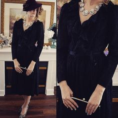 A personal favorite from my Etsy shop https://www.etsy.com/listing/75603614/free-shipping-vintage-black-dress-black