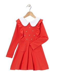Red Pearl Ruffle Collared Dress (5Y-6Y) - Click image twice for more info - See a larger selection girls red dress at http://girlsdressgallery.com/product-category/girls-red-dress/ - girls, little girls, kids, kids fashion, girls fashion, girls dress, casual dress, everyday dresses, gift ideas