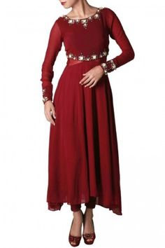 Marsala georgette and net anarkali with rose