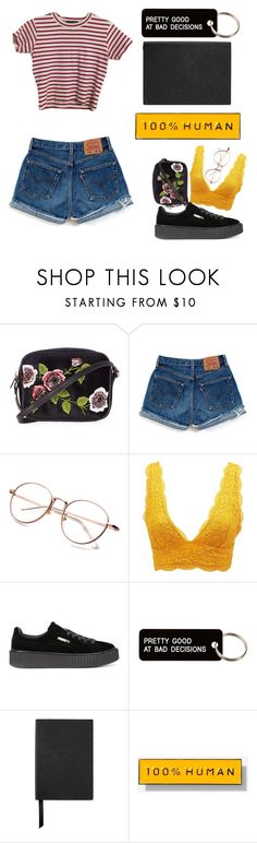 """""""i"""" by yunglita ❤ liked on Polyvore featuring Topshop, Levi's, Charlotte Russe, Puma, Various Projects, Smythson and Everlane"""
