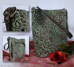 Concealed carry purse- Turquoise and chocolate rose