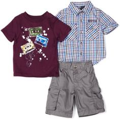 Kids Headquarters Baby-Boys Infant 3-Pack Short Sleeve Cargo Shirt