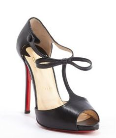 f723fffda3f3 Christian Louboutinblack leather  Belly Nodo 120  strappy peep toe pumps  Black Peep Toe Pumps