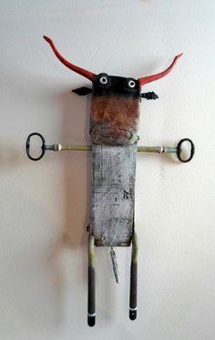 gérard collas -sculpture-taureau-assemblage