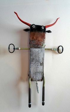 'Taureau' by French sculptor Gérard Collas. Assemblage, 25 cm. via the artist's site