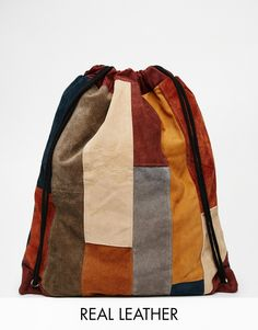 Image 1 of Milk It Suede Drawstring Backpack in Patchwork
