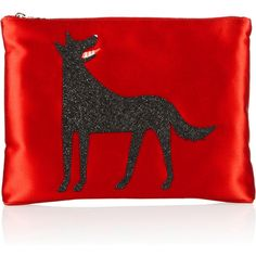 Charlotte Olympia Wolfie suede-embellished satin clutch (700 BRL) ❤ liked on Polyvore featuring bags, handbags, clutches, purses, red, charlotte olympia, clutch bags, red purse, suede purse and red clutches
