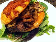 #Elk Meatloaf Sandwich w/ #Horseradish-Mustard & Sauteed Mushrooms