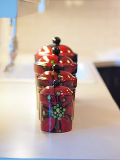 Red Poppy Canister Set of Four  Bold Vibrant by romyandclare, $260.00