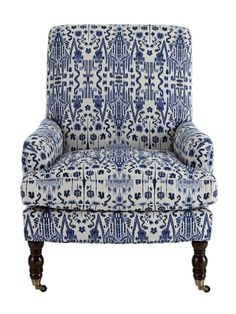 Ikat Chair from Horchow Upholstered in Mumbai Indian Blue Textile Chair Upholstery, Chair Fabric, Upholstered Furniture, Home Furniture, Ikat Fabric, Chair Cushions, 1930s Furniture, Blue Fabric, My Living Room