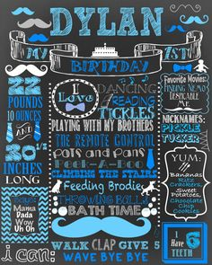 Mustache Bow Ties & Ties 1st birthday poster first birthday chalkboard for party baby boys