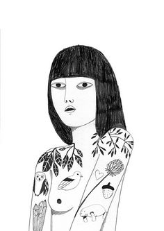 Print girl with tattoos - by lrana Douer