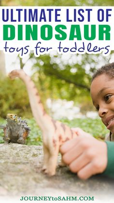 Toddlers tend to be drawn toward dinosaurs. It might be the idea of something they've never seen before, playing pretend, or something else. Either way, I've put together a list of must-have dinosaur toys for toddlers you can't pass up. These are the best of the best dinosaur toys for 2-year-olds up to 4-year-olds so young toddlers and preschoolers can enjoy. | @journeytoSAHM #besttoysfortoddlers #dinosaurtoys Dinosaur Toys For Toddlers, The Good Dinosaur Toys, Educational Activities For Toddlers, Activities For 2 Year Olds, Parenting Toddlers, Parenting Hacks, Best Toddler Toys, Toddler Age, Toddler Preschool