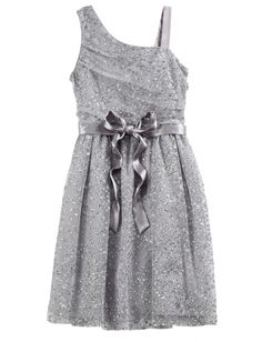 Silver One Shoulder Party Dress- Justice clothing soooo want it Cute Girl Outfits, Dance Outfits, Pretty Outfits, Pretty Dresses, Cool Outfits, Girly Outfits, Tween Fashion, Cute Fashion, Girl Fashion