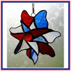 MAY 2012, The Diamond Jubilee (The Queen) - Pinwheel Jubilee Suncatcher Stained Glass British colours, by JOYSofGLASS, £13