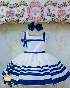 Image may contain: stripes Fashion Kids, Little Girl Fashion, Toddler Fashion, Baby Girl Party Dresses, Toddler Girl Dresses, Girls Dresses, Spanish Baby Clothes, Baby Dress Patterns, Frocks For Girls