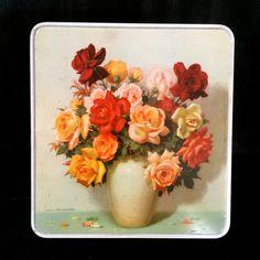 Vintage Floral Tin shabby Chic cottage chic by EllasAtticVintage