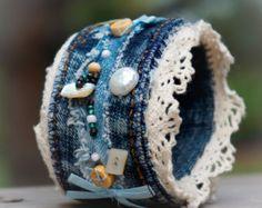 BORO Denim Cuff Embrodered Bracelet by MyJeansReligionStore