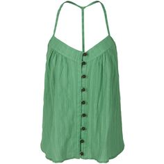 T BAGS Sleeveless Top With T Strap Back ($59) ❤ liked on Polyvore featuring tops, shirts, tank tops, tanks, blusas, green top, green tank top, sleeveless button shirt, loose fitting tank tops and cotton sleeveless shirts