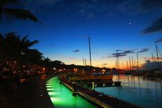 One Day in Tahiti: Papeete waterfront at night Tahiti French Polynesia