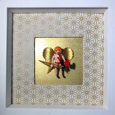 Cadre PLAYMOBIL Rare Cupidon avec arc et coeur rare custom collector A poser ou accrocher 27cm*27cm Personnalisable avec prénoms ou phrase