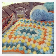 Crocheting in the garden. Happiness.