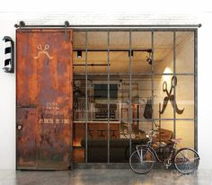 Cool Barber shop in industrial Loft design. Industrial Door, Industrial Interiors, Loft Design, Deco Design, Billard Bar, Barber Shop Decor, Barbershop Design, Barbershop Ideas, Album Design