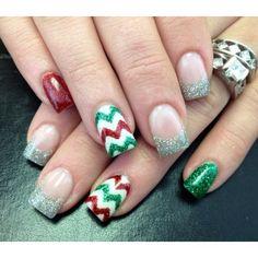 Cute Christmas Nails, Xmas Nails, Christmas Nail Art Designs, Holiday Nails, Christmas Glitter, Christmas Photos, Chevron Christmas, Holiday Gif, Christmas Night
