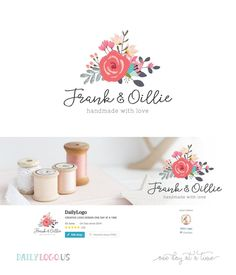 Today's Daily Logo – Watercolor Floral Bouquet Logo Website Header Etsy shop cover design