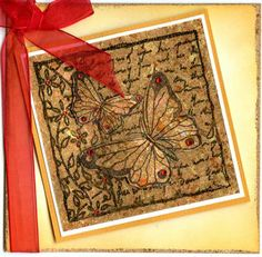 Imagination Crafts Stamp Set - Butterfly, acetate, double sided adhesive sheet, Indigoblu Flitter Flakes in Lancashire Rose.