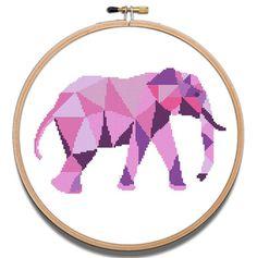 Cross Stitch Pattern Elephant Cute Pink Geometric Animal