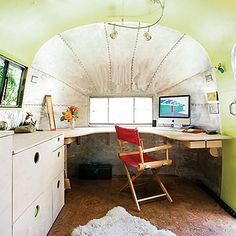 home office dream in an Airstream. this beauty belongs to architect Andreas Stavropoulos