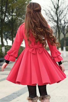 Princess Style Trumpet Sleeve Big Bowknot Long Woolen Coat Coats