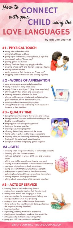 How to Connect with Your Child Using Love Languages - Big Life Journal – Kids at Home – Raising Kids Kids And Parenting, Parenting Hacks, Gentle Parenting, Parenting Styles, Peaceful Parenting, Parenting Classes, Parenting Quotes, Education Positive, Life Journal