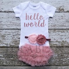 Baby Girl Coming Home Outfit \\ Baby Girl \\ Baby Girl Personalized Gift \\ Newborn Girl Coming Home Outfit \\ Rose Gold \\ Monogrammed Going Home Outfit, Girls Coming Home Outfit, Take Home Outfit, Gifts For Newborn Girl, Newborn Girl Outfits, Baby Girl Newborn, Baby Baby, Gift For Baby Girl, Toddler Outfits