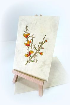 Vintage Handmade card Flower card Letterpress Gold by McRtyCards