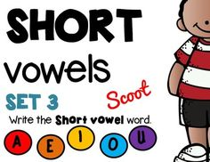 ***FREEBIE*** This is SET #3 of SCOOT! SHORT VOWELS ! 24 TASK CARDS!!! A fun alternative to worksheets to review short vowels. (COLOR version & GRAY SCALE version)SCOOT is an easy, fun, fast paced game that will get the kids up and moving around.Place a task card on each desk in numerical order.