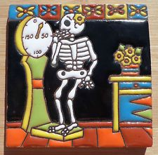 "Talavera Mexican tile Day of the Dead hi relief 4"" Woman on Scale weighs Flowers"