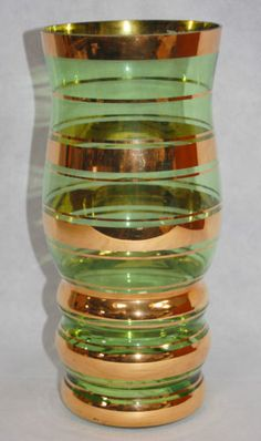 Vintage Retro 1950s Tall Curvy Green & Gold Banded Glass Vase Sklo Union Bohemia in Pottery, Porcelain & Glass, Glass, Art Glass | eBay